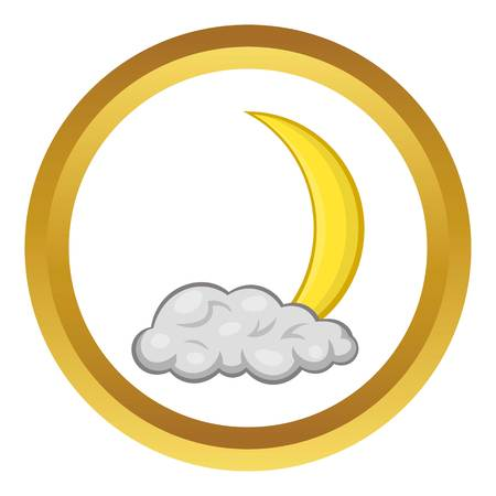 Crescent moon and cloud vector icon in golden circle, cartoon style isolated on white background