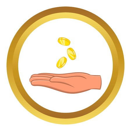 handful: Hand and falling coins vector icon in golden circle, cartoon style isolated on white background