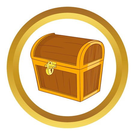 Wooden dower chest vector icon in golden circle, cartoon style isolated on white background
