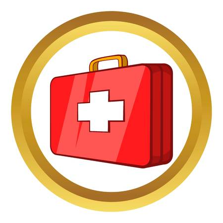 emergency medical: First aid kit vector icon in golden circle, cartoon style isolated on white background
