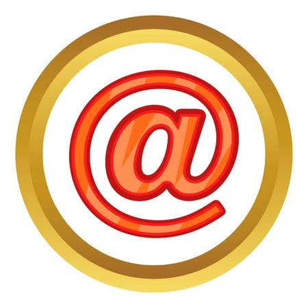 Sign e-mail vector icon in golden circle, cartoon style isolated on white background Illustration