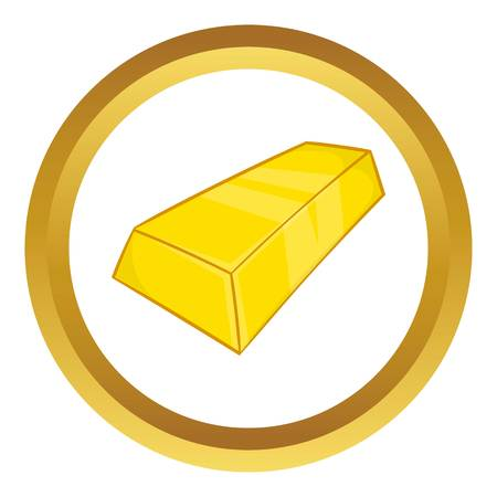 retention: Gold ingot vector icon in golden circle, cartoon style isolated on white background Illustration