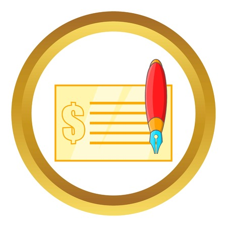 Check and pen vector icon in golden circle, cartoon style isolated on white background