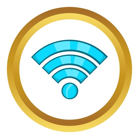 Wi-fi vector icon in golden circle, cartoon style isolated on white background