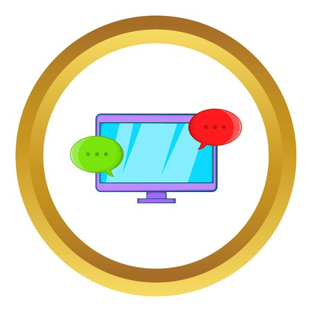 Messages on computer vector icon in golden circle, cartoon style isolated on white background