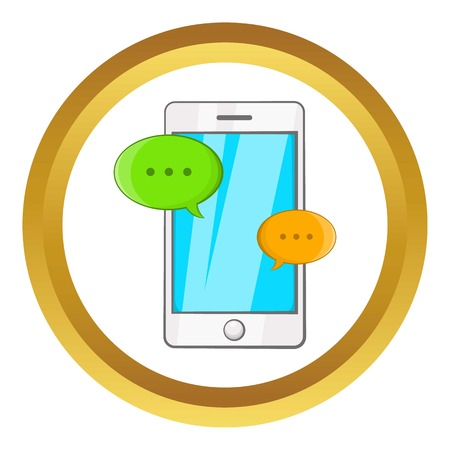 Phone messages vector icon in golden circle, cartoon style isolated on white background