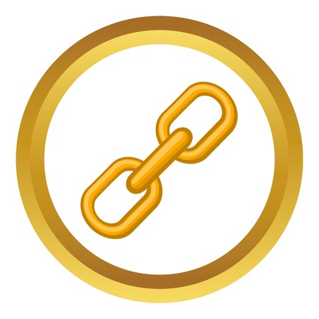 Chain vector icon in golden circle, cartoon style isolated on white background Illustration