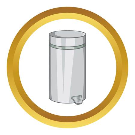 Home trash vector icon in golden circle, cartoon style isolated on white background