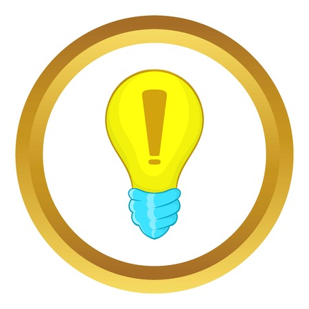 Light bulb idea vector icon in golden circle, cartoon style isolated on white background