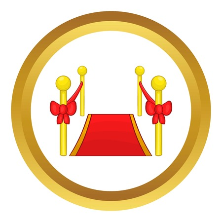 stanchion: Red carpet vector icon in golden circle, cartoon style isolated on white background