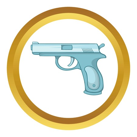 Gun vector icon in golden circle, cartoon style isolated on white background