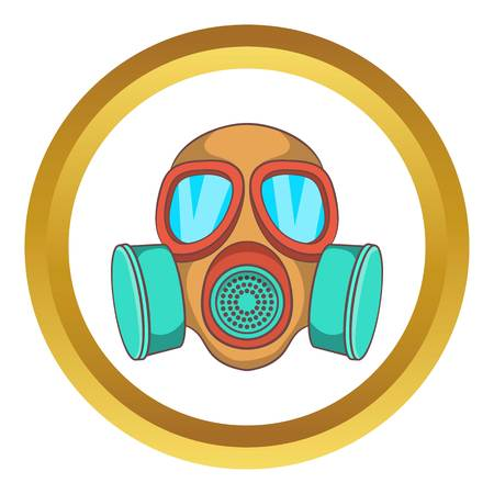 army face: Gas mask vector icon in golden circle, cartoon style isolated on white background Illustration