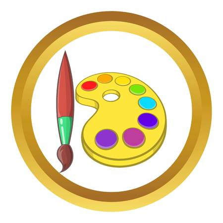 Art palette with paints and brush vector icon in golden circle, cartoon style isolated on white background
