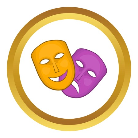 comedy and tragedy: Comedy and tragedy theatrical masks vector icon in golden circle, cartoon style isolated on white background Illustration