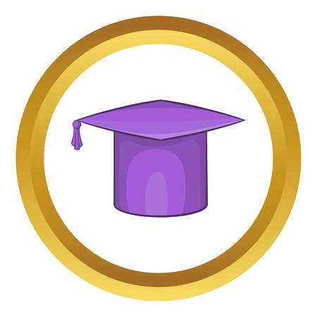 commencement: Graduation cap vector icon in golden circle, cartoon style isolated on white background Illustration