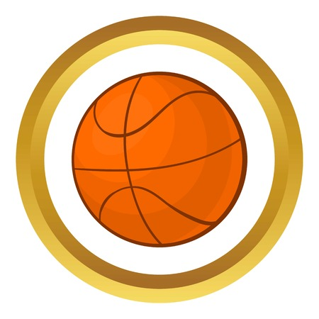 ball point: Basketball ball vector icon in golden circle, cartoon style isolated on white background