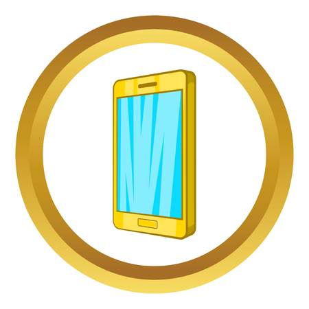 android tablet: Smartphone vector icon in golden circle, cartoon style isolated on white background