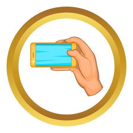review site: Hand works with a smartphone vector icon in golden circle, cartoon style isolated on white background Illustration