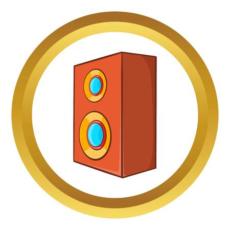 Brown speaker vector icon in golden circle, cartoon style isolated on white background