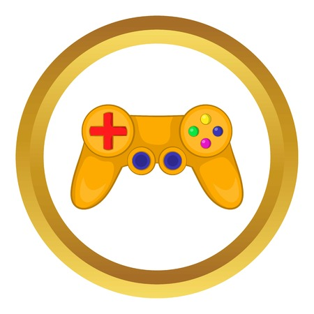 Video game controller vector icon in golden circle, cartoon style isolated on white background