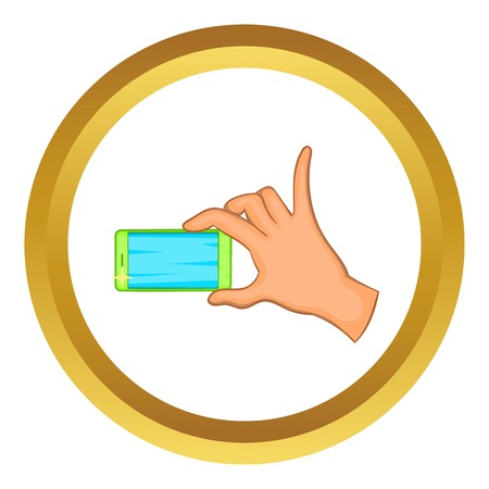 review site: Hand holding mobile phone vector icon in golden circle, cartoon style isolated on white background Illustration