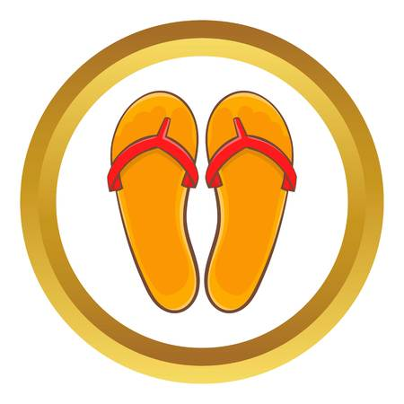 sandalias: Flips flops vector icono en círculo de oro, estilo de dibujos animados aislados sobre fondo blanco
