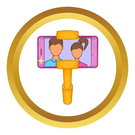 Selfie stick with mobile phone vector icon in golden circle, cartoon style isolated on white background