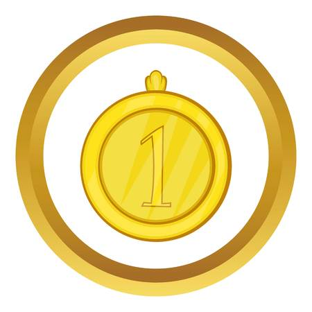 Gold first place medal vector icon in golden circle, cartoon style isolated on white background