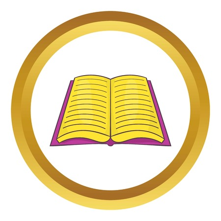 dictionary: Open book with text vector icon in golden circle, cartoon style isolated on white background