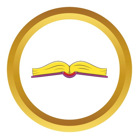 Book is open in the middle vector icon in golden circle, cartoon style isolated on white background Illustration