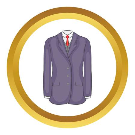 Men suit vector icon in golden circle, cartoon style isolated on white background