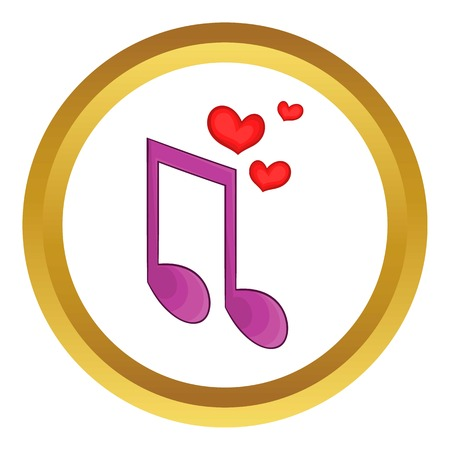 Love song vector icon in golden circle, cartoon style isolated on white background
