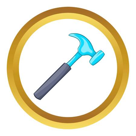 Hammer vector icon in golden circle, cartoon style isolated on white background
