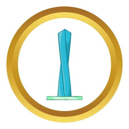 Emirates tower vector icon in golden circle, cartoon style isolated on white background Illustration