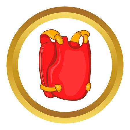 Red paintball vest vector icon in golden circle, cartoon style isolated on white background
