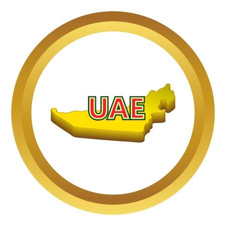 united arab emirate: Map of UAE vector icon in golden circle, cartoon style isolated on white background Illustration