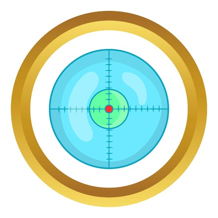 Optical sight vector icon in golden circle, cartoon style isolated on white background Illustration