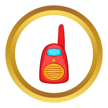 Red portable handheld radio vector icon in golden circle, cartoon style isolated on white background
