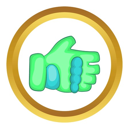 Green paintball glove vector icon in golden circle, cartoon style isolated on white background