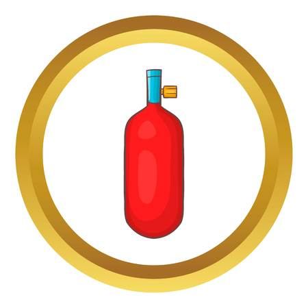 chemical weapon symbol: Gas hand grenade vector icon in golden circle, cartoon style isolated on white background