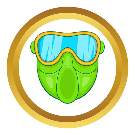 plastic soldier: Green paintball mask vector icon in golden circle, cartoon style isolated on white background