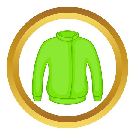 zipper hooded sweatshirt: Green paintball jacket vector icon in golden circle, cartoon style isolated on white background Illustration