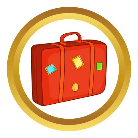 Suitcase vector icon in golden circle, cartoon style isolated on white background Illustration