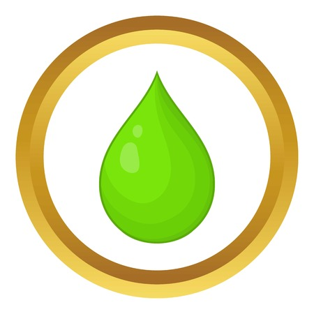 Drop of water vector icon in golden circle, cartoon style isolated on white background