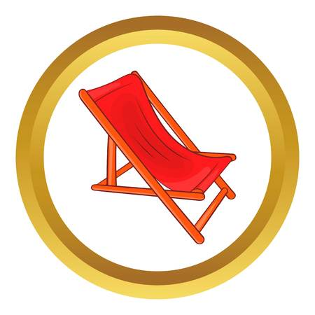 Lounger vector icon in golden circle, cartoon style isolated on white background