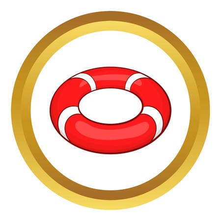 lifeline: Lifeline vector icon in golden circle, cartoon style isolated on white background Illustration