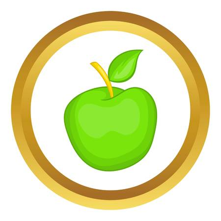 golden apple: Green apple vector icon in golden circle, cartoon style isolated on white background