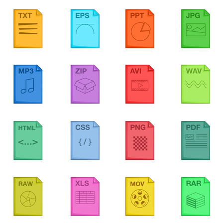 end user: File extension icons set. Cartoon illustration of 16 file extension vector icons for web