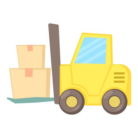 shipper: Forklift icon. Cartoon illustration of forklift vector icon for web