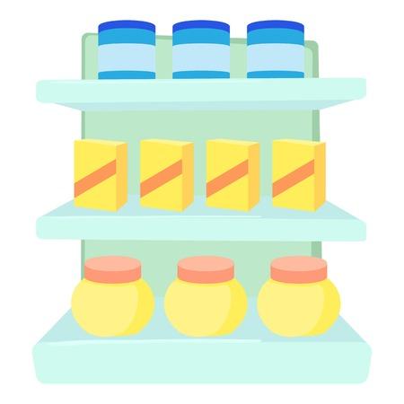 Shop shelves icon. Cartoon illustration of shop shelves vector icon for web Illustration